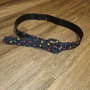 Vintage 80s Astor Rainbow Black Confetti Belt